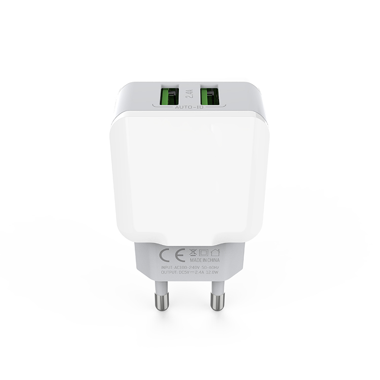 Fast Charging Wall Charger 2.4A Dual USB Ports EU Plug Cellphone Charger for IOS/ANDROID
